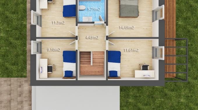 Nízkoenergetický rodinný dům na klíč Harmony / Půdorys - 1. patro