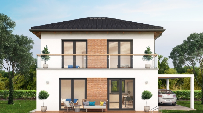 Nízkoenergetický rodinný dům na klíč Panorama / Zadní pohled