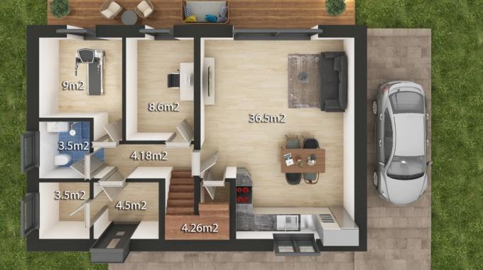 Nízkoenergetický rodinný dům na klíč Family / Půdorys - Přízemí