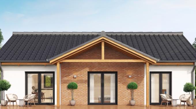 Nízkoenergetický rodinný dům na klíč Grace / Zadní pohled