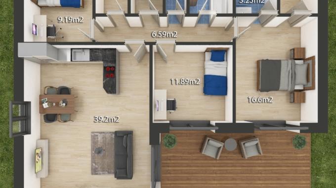 Nízkoenergetický rodinný dům na klíč Laguna / Půdorys 4 + Kk