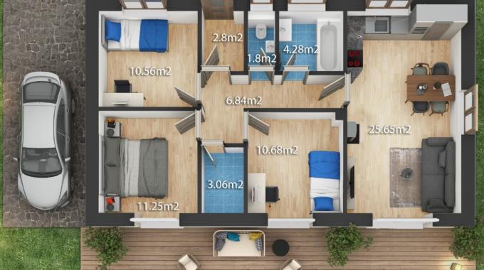 Nízkoenergetický rodinný dům na klíč Dream / Půdorys