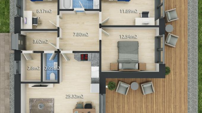 Nízkoenergetický rodinný dům na klíč Premium / Půdorys 4 + Kk