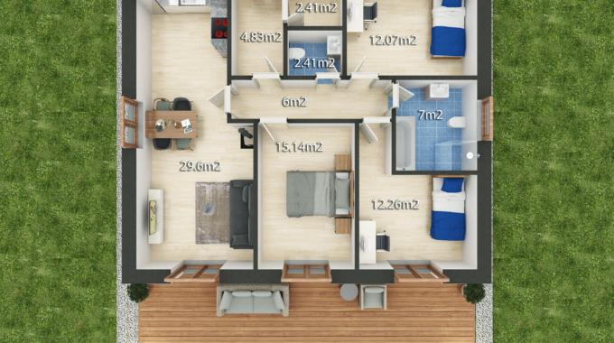 Nízkoenergetický rodinný dům na klíč Haven / Půdorys 4 + Kk