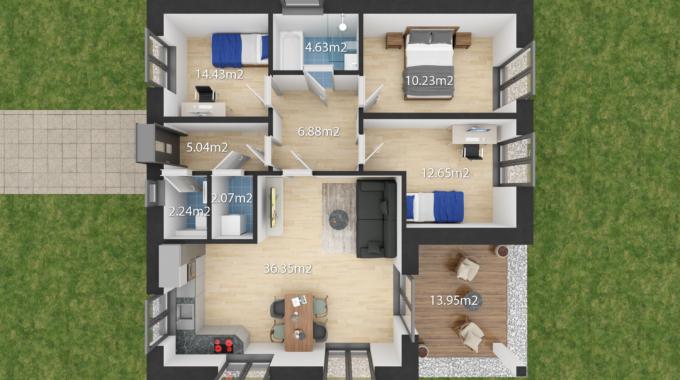 Nízkoenergetický rodinný dům na klíč Premium Plus / Půdorys