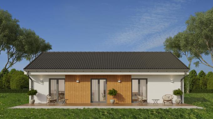 Nízkoenergetický rodinný dům na klíč Porto / Zadní pohled